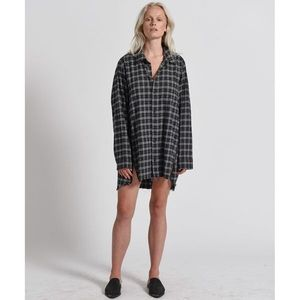 One Teaspoon Grunge Shirt Dress Grey Plaid S